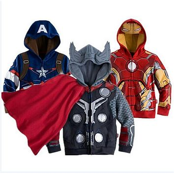 Avengers Iron Man Children Boys Jacket Hooded Sweatshirt Girls Coat Spring Autumn Coats Kids Long Sleeve Outerwear Girls Clothes