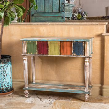 Leo Antique Multi-Color Weathered Wood 2 Drawer Console Table