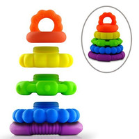 Stackable Teether Toys- Unisex Stackers for Baby Girls, Boys, and Toddler - Premium Food Grade Silicone Rings- Textured Sensory Shapes