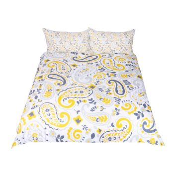 Paisley Bedding Set Yellow Duvet Cover for Adults Boho Floral Leaf Bed Set 3-Piece Home Textiles