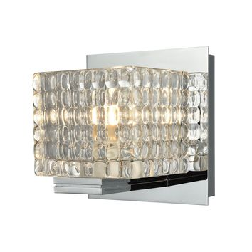 Chastain 1-Light Vanity Lamp in Chrome with Clear Glass Cube Shade