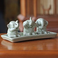 Novica Elephant Life Lessons Celadon Ceramic Figurine Set | Decorative Accessories| Home Decor | World Market