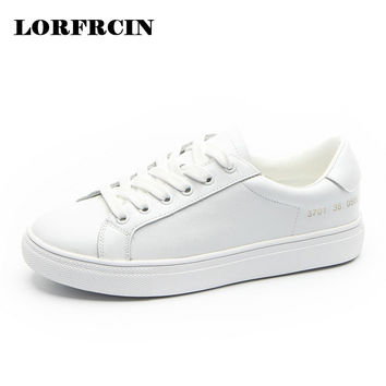 2017 Creepers Platform Loafers Lace-Up Shoes Woman Solid White Casual Women Flats Shoes Genuine Leather Ladies Shoes