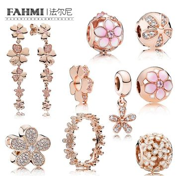 FAHMI 100% 925 Sterling Silver Rose Gold Daisy Flower Collection Ring Stud Earrings Beads SPACER Charm Clip Pendant  Jewelry