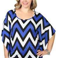 plus size short sleeve kimono with chevron print