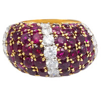 "1950s Van Cleef & Arpels Ruby Diamond Gold ""Pelouse"" Bombe Ring"