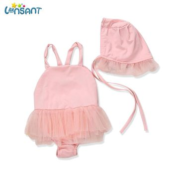 LONSANT 2018 Girls Swimsuit Kids Swimming Angel Wing Mesh One-Piece Sling Children's Baby Swimwear + Cape Bather Dropshipping