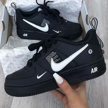 NIKE AIR FORCE 1 AF1 OW 2018 new casual simple versatile shoes Black