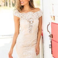 Ivory and Nude Embroidered Short Dress