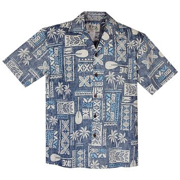 Hieroglyphics Blue Cotton Vintage Hawaiian Shirt