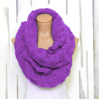 Wrapped Up,Woman Scarves,Winter scarves, Knitted Accessory, Purple scarf. Loop Scarf, Circle Scarf, Chunky, Cowl, Knit Scarves