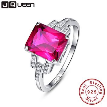 Vintage Garnet Ruby Red Stone S925 Silver Ring