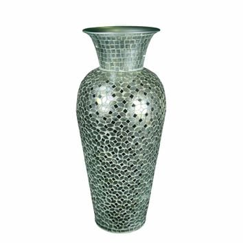 Beautifully Designed Mosaic Vase, Silver By Benzara