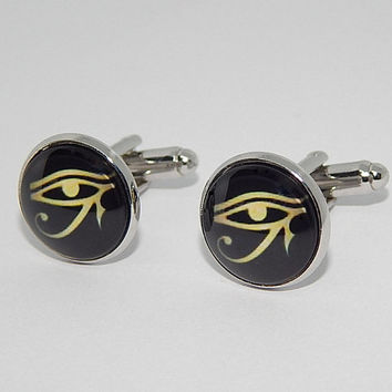 Eye of Ra cufflinks, Eye of Horus cufflinks, Horus simbol jewelry, Ancient Egyptian simbol, Ra egyptian God, wedding cufflinks, groomsmen