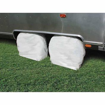 "Camco 36""-39"" Wheel & Tire Vinyl Protector Covers, Arctic White, Set of 2"