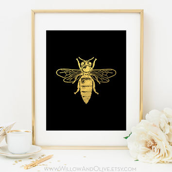 BUMBLE BEE Faux Gold Foil Art Print