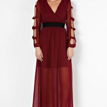 Grecian Burgundy Maxi Dress