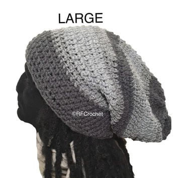 Large | Mens Beanie | 3-tone Gray | Free USA Shipping | Adults | Dreadlocks | Locs | Long Hair | Comfortable Fit | Crochet Hat