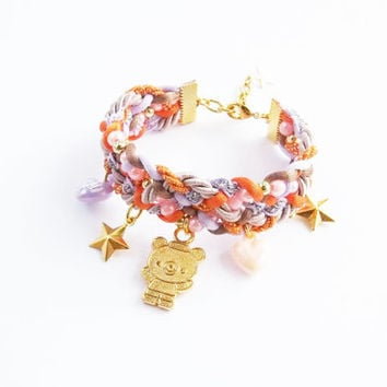 kawaii cute teddy bear bracelet