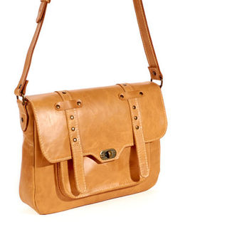 Orange leather crossbody bag / Leather messenger bag /  Leather shoulder bag / Women's leather bag