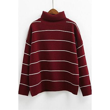 Casual Pullovers Turtleneck Loose Striped Sweaters