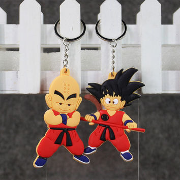 Anime Dragon Ball Monkey Keychain Son Goku Super Saiyan Silicone PVC Keychain action figure pendant Keyring Collection toy