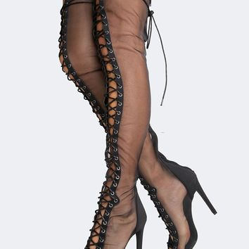 Mesh Lace Up Thigh High