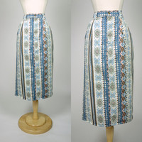 1980s aztec denim skirt, high waist pencil skirt w/ pockets and belt loops, pastel blue print, medium, size 8