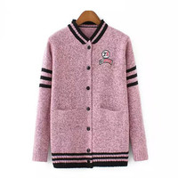 Pink Stripe Collar Button Baseball Cardigan