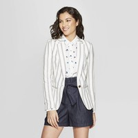 Women's Long Sleeve Striped Blazer - A New Day™ White/Blue
