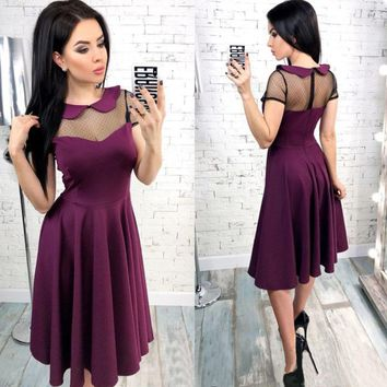 Women Vintage Lace Patchwork A-line Party Dress Short Sleeve Solid Knee-length Casual Dress 2019 Summer New Fashion Women Dress
