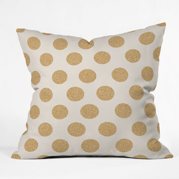 Allyson Johnson Gold Dots Throw Pillow