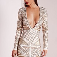 Missguided - Premium Plunge Embellished Bodycon Dress Cream