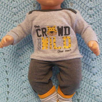 """American Girl Bitty Baby clothes Bitty Twins BOY """"And The Crowd Goes Wild"""" (15 inch)  playset top pants socks tiger"""