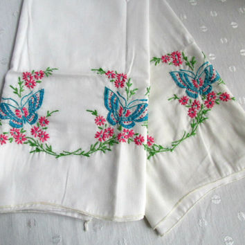 Pillowcases Two Queen Size White Cotton Cases Floral Butterflies Embroidery Crochet Aqua Pink Green