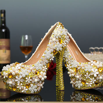 Diasy Flower Wedding Shoes Platform Stiletto Shoes