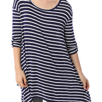LE3NO Womens Loose Scoop Neck 3/4 Sleeve Striped Tunic Top (CLEARANCE)