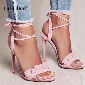 Women's Ruffle High Heel Shoes With Ankle Tie Straps
