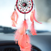 Mini Dream catcher,  Car Dreamcatcher, Car Accessory, Rear View Mirror Charm, Red Dreamcatcher Ruby stones, Gift for Her, Bohemian Decor
