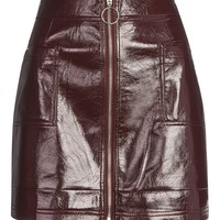 Cracked Vinyl Zip Mini Skirt