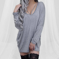 Serena Strappy Sweater Dress (Grey)