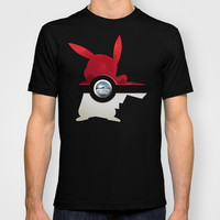 Retro Chrome pokemon pikachu pokeball Adult Tee T-shirt by Three Second