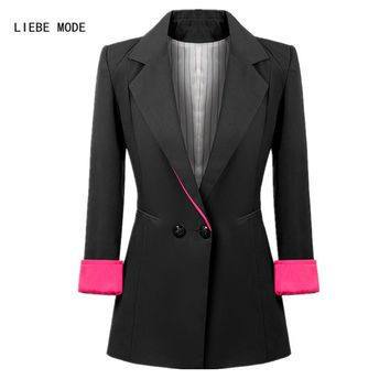 Ladies Double Breasted Long Blazer Women Work Wear Long Sleeve Suit Coat Womens Tuxedo Jackets Outwear Veste Blazer Long Femme