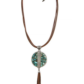 Boho Stone & Tassel Necklace