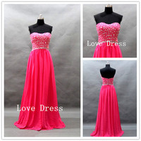 Strapless Sweetheart with Beading Chiffon Long Prom Dress