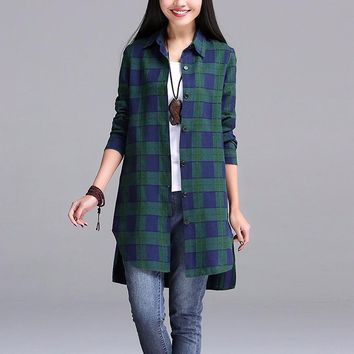 Button up Turn Down collar, Long Sleeve, Split side plaid shirts. 3 color combos to choose red-blue, green-blue or black-white comes in sizes Small-5XL