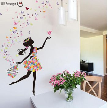 Old Passenger Personality Fairies Girl Butterfly Flowers Art Decal Wall Stickers For Home Decor DIY