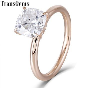 Transgems 14K Rose Gold 1.5ct Carat7mm F Color Cushion Cut Moiss 8ba0e21515
