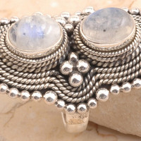 Valuable Rainbow Moonstone Ring in 925 Sterling Silver