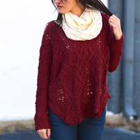 Crazy in Love Knit Sweater {Burgundy}